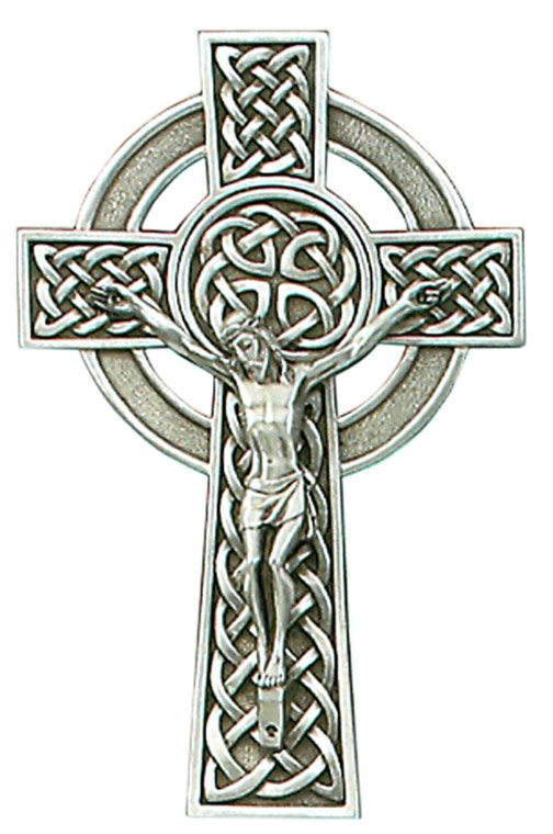 Pewter Crucifix with Celtic Knot 8""