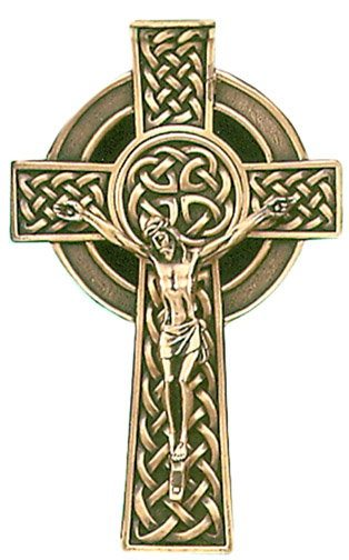 Gold Tone  Crucifix with Celtic Knot 8""