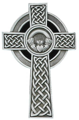 Pewter Cross with Claddagh 5""