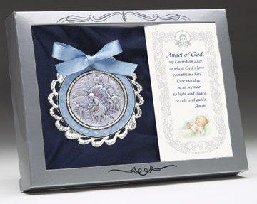 Sterling Crib Medal Blue