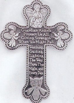 Guardian Angel Pewter Cross
