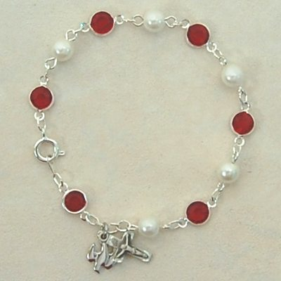 Sterling Silver Red & Pearl Bracelet