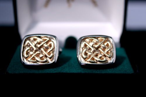 Cufflinks Celtic Ring Gold and Silver Plated Brass