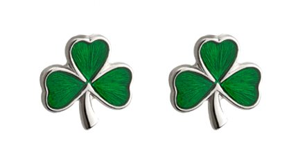 SS Green Enamel Shamrock (post earrings)