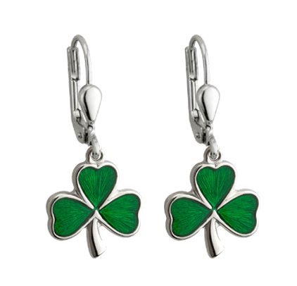 SS Green Enamel Shamrock Wire Dangle Earrings