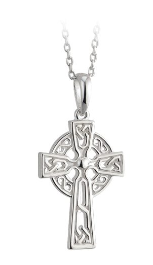 "SS Celtic Cross Pendant 18"" Medium"