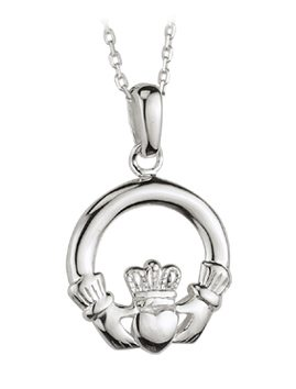 SS Claddagh Pendant (Medium) 18""