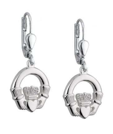 SS Wire Dangle Claddagh Earrings (Medium)