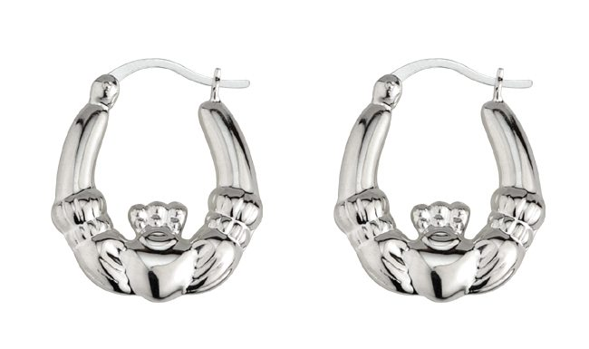 SS Claddagh Hoop Earrings (Medium)